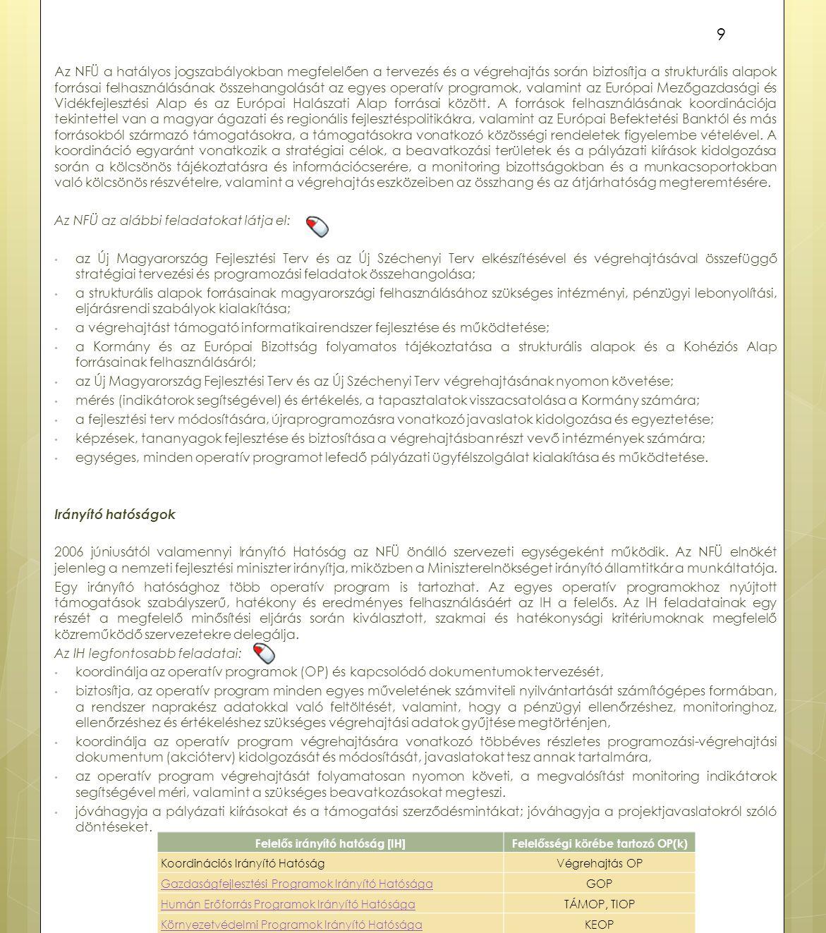 Felelős irányító hatóság [IH] Felelősségi körébe tartozó OP(k)